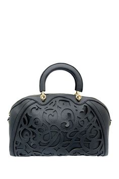 Beautiful black satchel with cut-out design.