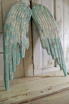 Large wooden wings Robins egg blue aqua mix by AnitaSperoDesign, $195.00