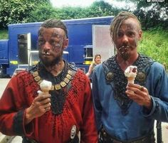 Harald and Halfdan get ice cream, eat it like vikings.