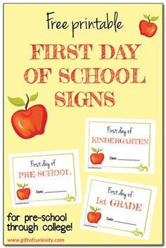Free printable First Day of School signs for kids starting pre-school through college! These signs are cute, fun, and don't require a lot of ink. || Gift of Curiosity