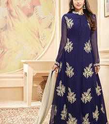 Buy Blue Georgette Heavy Embroidery Work semi_stitched salwar with dupatta anarkali-salwar-kameez online