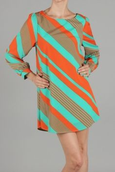 diagonal stripe dress in aqua and orange