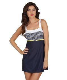Nautica - First Mate Swim Dress in navy and white with a hint of bright yellow for a contrast color. Swim dress, swim skirt, whatever you call this cute nautical / sailor style one piece swim suit, I call it something that will look great on a really wide variety of women. So flattering and easy to wear!