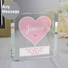 Personalise this Crystal Token with a role/name up to 12 characters inside the heart and a message below over 4 lines of 20 characters per line.