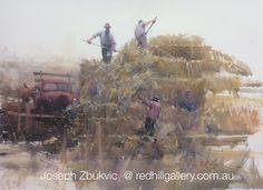 "Joseph Zbukvic - Red Hill Gallery, Brisbane. Watercolour painting ""Golden Harvest"" redhillgallery.com.au"