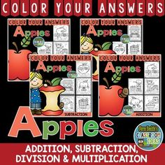 Perfect for multi-grade level classes, ESOL, ELL or ESE. Color By Numbers Addition, Subtraction, Multiplication and Division Apple Fun Bundle - Color Your Answers Printables for some Math Fun in your classroom! 20 Printables and 20 Answer Keys, perfect for an autumn school week!