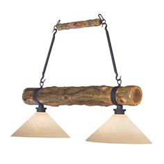 Shadow Mountain SM1805-GT-CD 2 Light Island Pool Table Light, Cedar Log