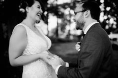 First look laughs at an Orchard House Bed and Breakfast Wedding