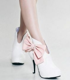 Gorgeous Bow Platform White Wedding Evening Party Ankle Boots High Heel  Plus Size Custom Made