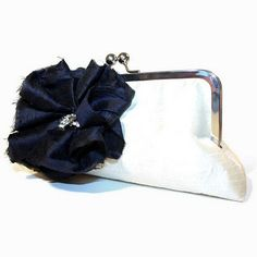Midnight Blue and Chartreuse Green Ruched and Ruffled Silk Flower with Vintage Rhinestone on Antique White Clutch