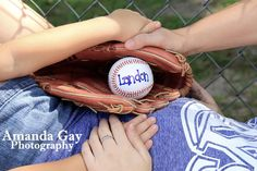 Baseball themed pregnancy / maternity photo session. Facebook.com/amandagayphotography