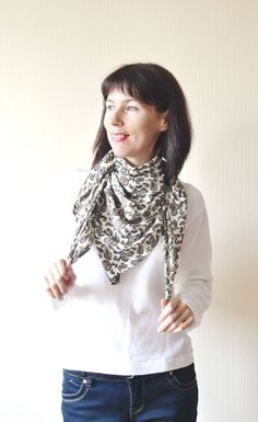 bandana scarf womens gift for women chiffon scarf birthday gift square scarf anniversary gift floral scarf summer gift scarf neck scarf by DinaStyleKnits on Etsy