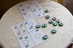 """teaching counting-- only to be done as you're teaching one to one correspondence AND number identification (i.e.: they can see """"2"""" and know what it means)"""