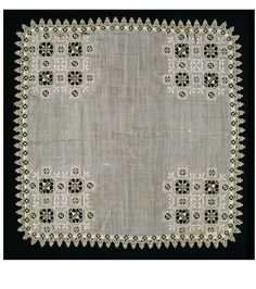 Handkerchief      Place of origin:      Italy (made)     Date:      ca. 1600 (made)     Artist/Maker:      Unknown (production)     Materials and Techniques:      Linen, with cutwork, needle lace and embroidery     Museum number:      288-1906