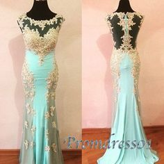 Round neck see-through long lace slim prom dress