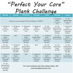 Take the Perfect Your Core Plank Challenge and find those abs you have been wanting to see in just one month! #plank #fitness #exercise #challenge #abs #heandsheeatclean #core