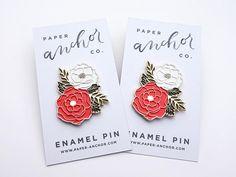 Floral Enamel Pin Cute Floral Cluster Lapel Pin Peony Pin