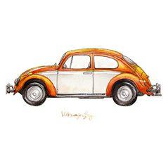 "Creamsicle Volkswagon Bug, classic automobile watercolor print, 8x10"" (6.069 KWD) ❤ liked on Polyvore featuring home, home decor, wall art, ilustracije, transport, watercolor wall art and textured wall art"