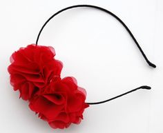 strawberry red double flower headband for women and by urbanfields, $15.00