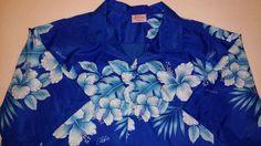 Vintage Kalena Hawaiian Shirt Fashions of Hawaii XL Blue Hibiscus Aloha Cruise #KalenaFashions #Hawaiian