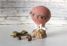 Hot air balloon wedding ring holder: Wedding ring dish - Travel wedding theme - Ring bearer pillow alternative - Blush wedding - Cake topper