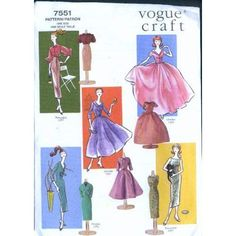 Includes vintage Vogue patterns and instructions to make a wardrobe for (Barbie) dolls. Sewing Doll Clothes, Sewing Dolls, Doll Clothes Patterns, Doll Patterns, Barbie Fashion Royalty, Fashion Dolls, Vintage Vogue Patterns, Barbie Sewing Patterns, Barbie Basics