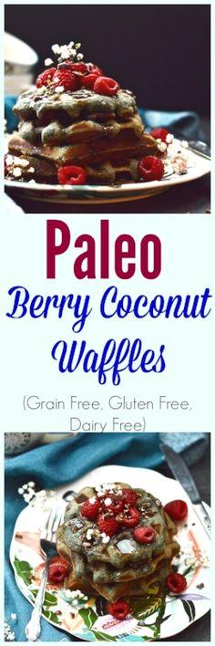 Paleo Berry Coconut Waffles (grain-free, gluten-free, dairy-free)