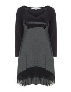 Jersey dress with chiffon hem in Black / Grey designed by Mat to find in Category Dresses at navabi.de