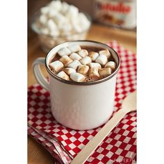 Nutella Hot Chocolate Change your Rainy Days Forever ❤ liked on Polyvore featuring food, drinks, food and drink, comidas and pictures