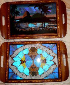40's Brazilian butterfly wing trays.