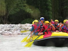 White water rafting takes advantage of manpower, water waves, and wind to move through the river.