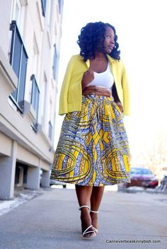 Gorgeous African Print Skirt Styled with yellow blazer & white strappy heels