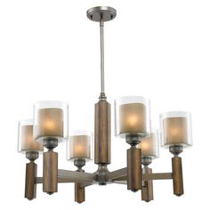 Chandelier with mahogany-finished accents and layered glass shades.Product: ChandelierConstruction Material: Meta...