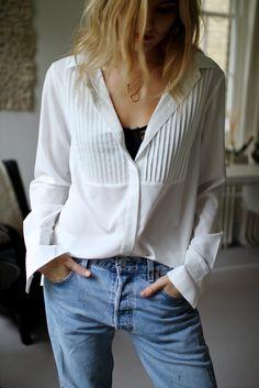 white shirt & denim...Love the Look.!!
