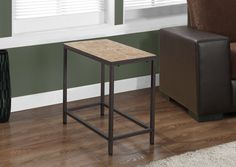 Terracotta Tile Top / Hammered Brown Accent Side Table