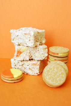 Candy Corn Oreo Krispie Treats