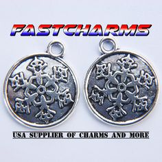 SNOWFLAKE TAG CHARMS, 10pcs, 20mm diameter, antique silver, jewelry making supplies, charms for bracelets, fastcharms, holiday charm (YB21M) by fastcharms on Etsy