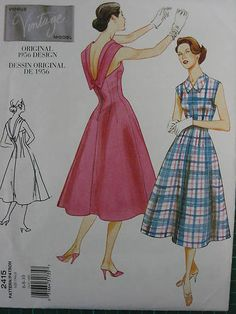 VOGUE VINTAGE FABULOUS 50s FLARED DRESS SEWING PATTERN 2415 | eBay