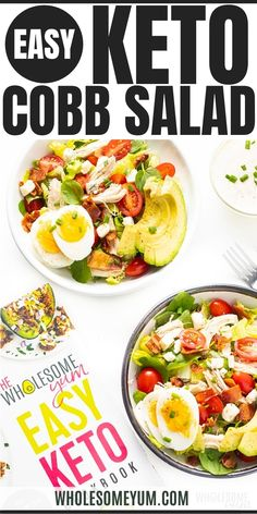 Healthy Keto Cobb Salad Recipe - All you need to know how to make cobb salad in 10 minutes: cobb salad ingredients, instructions, tips, and 5 cobb salad dressing options. You'd never guess this is a healthy keto cobb salad recipe. #wholesomeyum #keto #cobbsalad #ketosalad #bacon #chicken #eggs #tomatoes #avocado Ketogenic Recipes, Keto Recipes, Cooking Recipes, Healthy Recipes, Ketogenic Diet, Cobb Salad Dressing, Ranch Dressing, Cobb Salad Ingredients, Usda Food