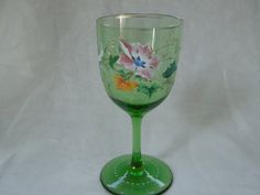 Gorgeous  Antique Czech Bohemian Baroque Hand Blown Hand Decorated Wine Glass