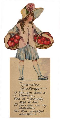 Vintage Valentine Postcards and Illustrations for Collectors: Girl with Hearts Valentine