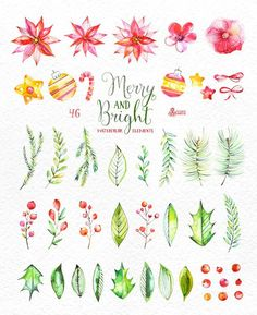 This set of 46 high quality hand painted watercolor floral Elements(flowers… Christmas Plants, Christmas Flowers, Christmas Art, Christmas Decorations, Watercolor Cards, Watercolor Illustration, Watercolor Flowers, Merry And Bright, Greeting Cards