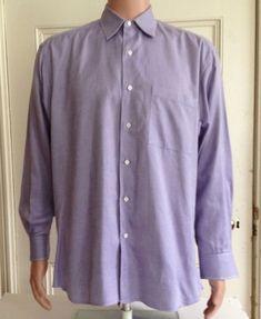 Ike Behar Shirt Mens Size 16 34 Long Sleeve Purple Cotton Made in USA #IkeBehar