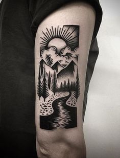 33 Bold Illustrations Blackwork Tattoos - Page 7 of 33 - Ninja Cosmico Forarm Sleeve Tattoo, Sleeve Tattoos, Yg Tattoos, Tatoos, Blackwork, Wilderness Tattoo, Scenery Tattoo, Square Tattoo, Blackout Tattoo