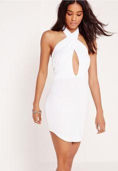 Curve Hem Scarf Neck Bodycon Mini Dress White - Missguided