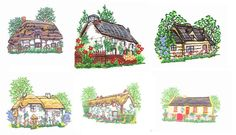 Thatched Cottages by Glenn Harris OUT-CE [EPB1393] - $6.70 : Embroidery Passbook Mall, Instant download Embroidery Designs