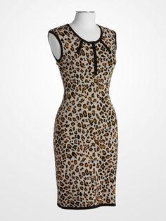 Calvinklein Animal Leopard Print Sheath Dress Black Brown Taupe Fallfashion