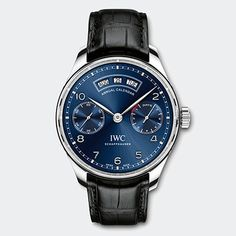 The IWC Portugieser Annual Calendar. Available in an 18-carat red gold or stainless-steel case with a silver-plated or midnight blue dial