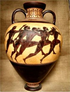 Greek Pottery :: Black figured pottery :: Black figured Panathenaic Amphora. Each Panathenaic vase depicts a striding, armed Athena on the front. The back shows the particular event for which the prize was given. Here, the contest is athletes running. About 500 BC. National Archaeological Museum, Athens.