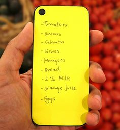 Erasable back of phone to write notes on - when going to the supermarket it would be so useful
